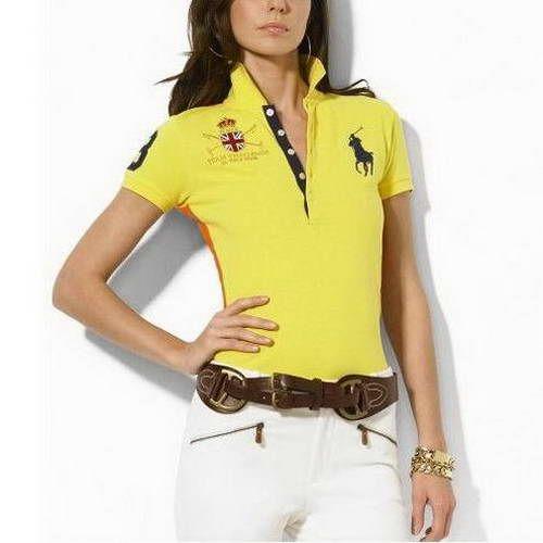 Ralph Lauren Womens Big Pony Short Sleeved Polo Shirts Yellow Ralph Lauren Womens Clothing Ralph Lauren Women Ralph Lauren Outfits