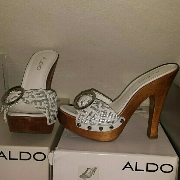 ALDO White sandals ALDO BELOEIL-70 WOODEN 5 INCH HEELS WHITE LEATHER WHITE & SILVER WEAVE SILVER BUCKLE NEVER WORN ALDO Shoes Sandals