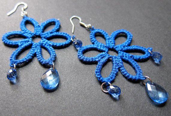 Tatted Earrings  Navy Blue Flower Crystal Drop by spritzyfitzy, $20.00