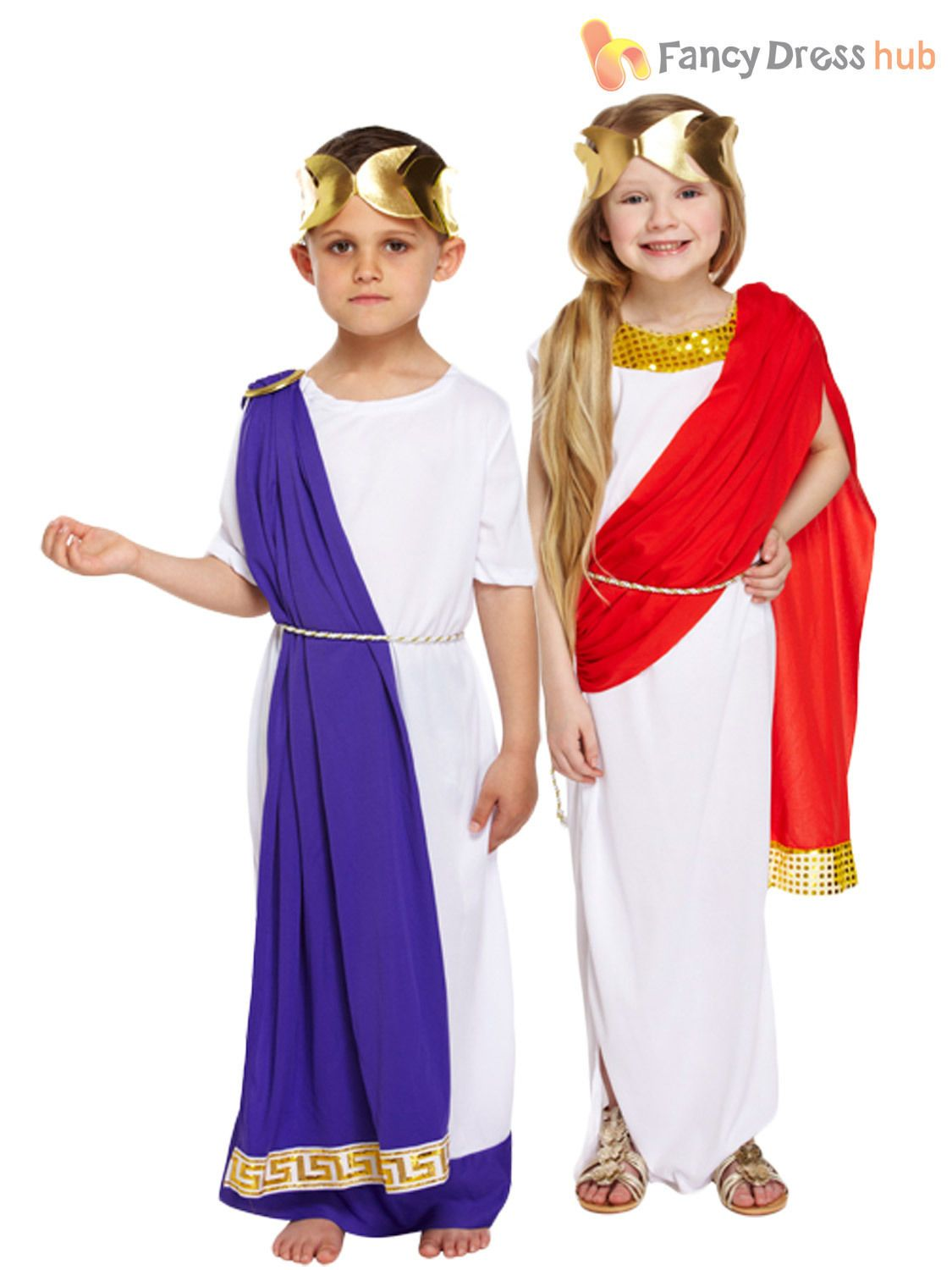 Kids Girls Greek Goddess Ancient Roman Toga Book Week Fancy Dress Costume