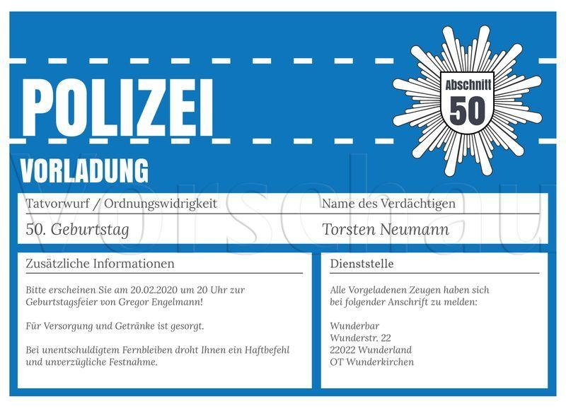 Polizei Vorladung