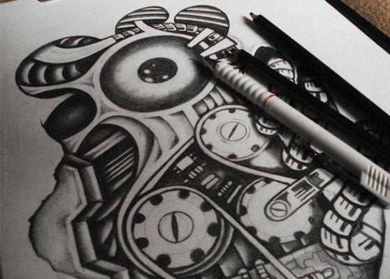 Damaged Tattoo design by artslaves.com , via Behance
