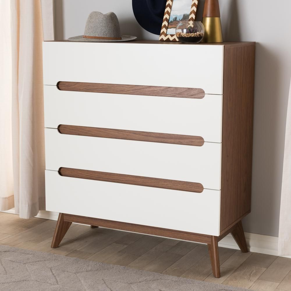 Baxton Studio Calypso 4 Drawer White Chest 28862 7500 Hd The Home Depot Mid Century Modern Wood Brown Chest Of Drawers Storage Drawers