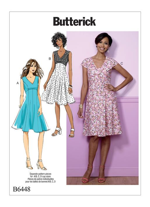 49080aaf7c6a Butterick dress sewing pattern features an empire waist and a flared skirt.  B6448 Misses' Fit-and-Flare, Empire-Waist Dresses