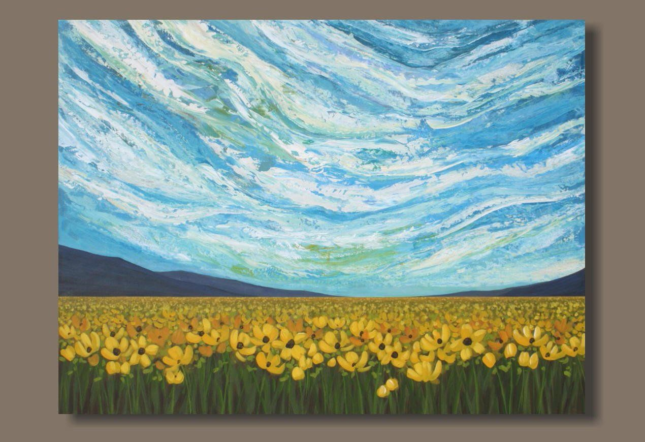 Large Sky Painting Yellow Flowers Abstract Landscape Cloud Painting Big Sky Mountains Meadow Field Of Flo Sky Painting Abstract Landscape Cloud Painting