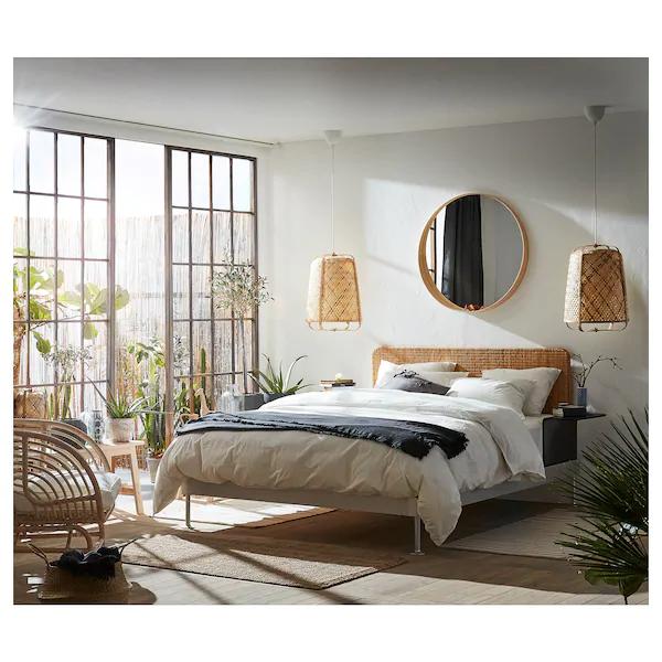 DELAKTIG Bed frameheadboard2 side tables, aluminum, rattan