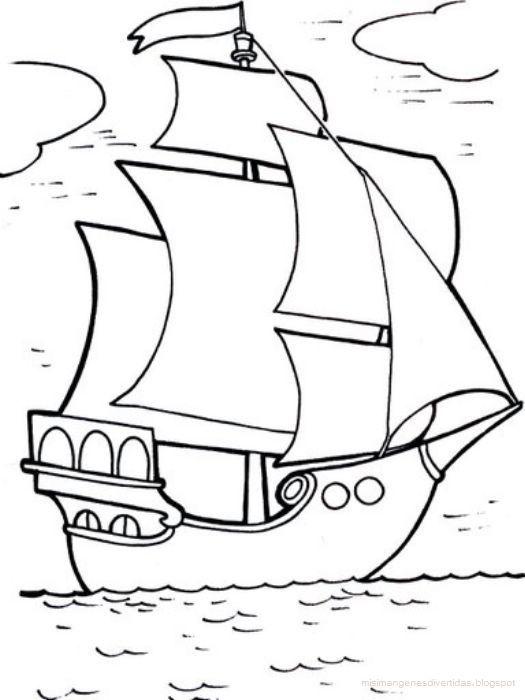 Resultado De Imagen Para Barco De Cristobal Colon Para Niños Dibujo De Barco Barcos Para Colorear Dibujos Para Pintar Faciles