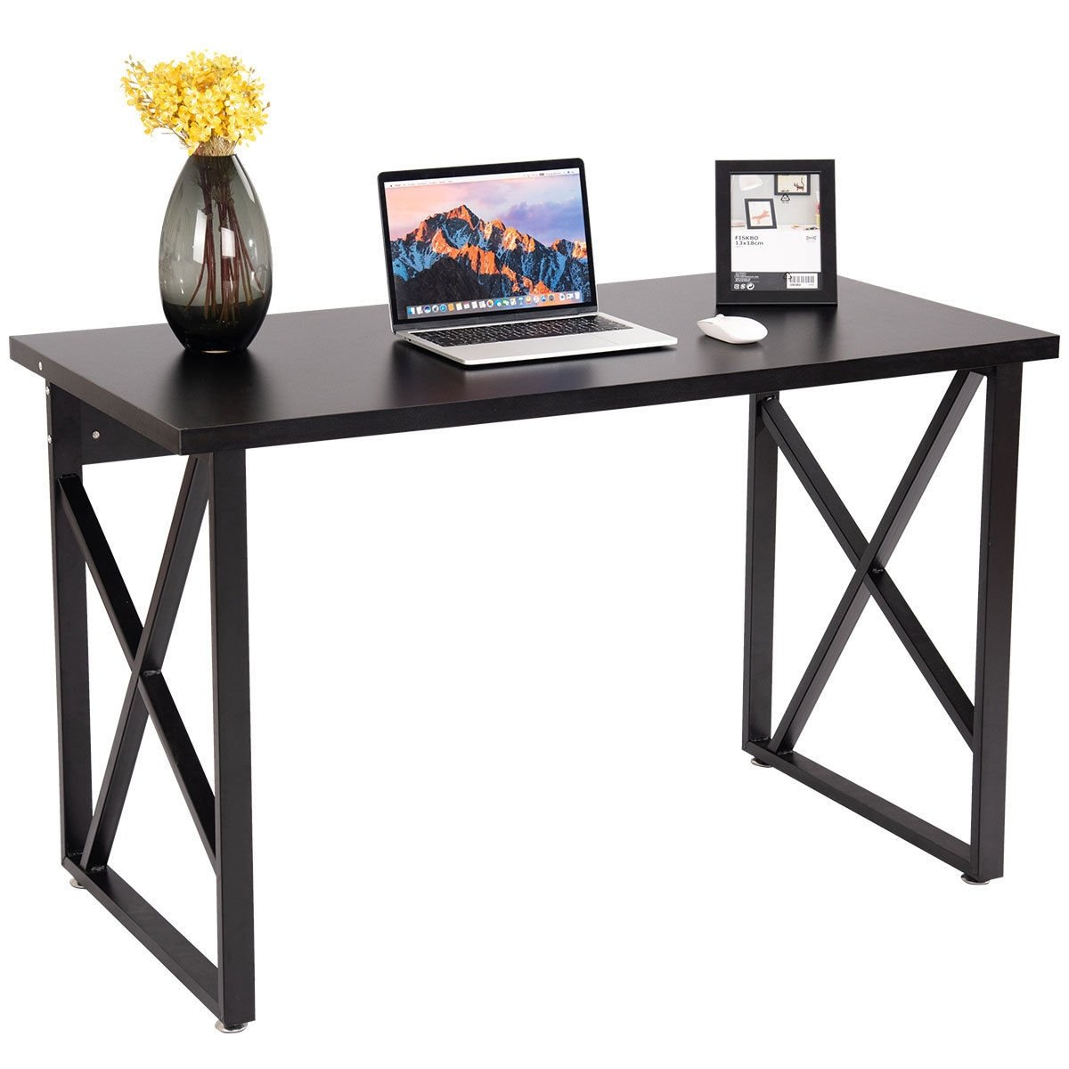 Wooden Pc Laptop Table With Metal Legs Home Office Computer Desk