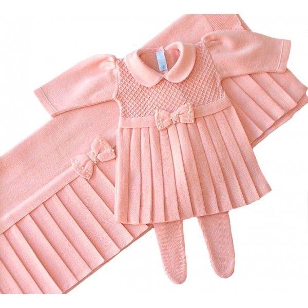 Saída de Maternidade Vestido Casinha de Abelha Laço Rosê  eac81e9a135