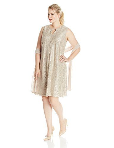 Fashion Bug Womens Plus Size Keyhole Lace Dress with Scarf www.fashionbug.us #PlusSize #FashionBug #Dress