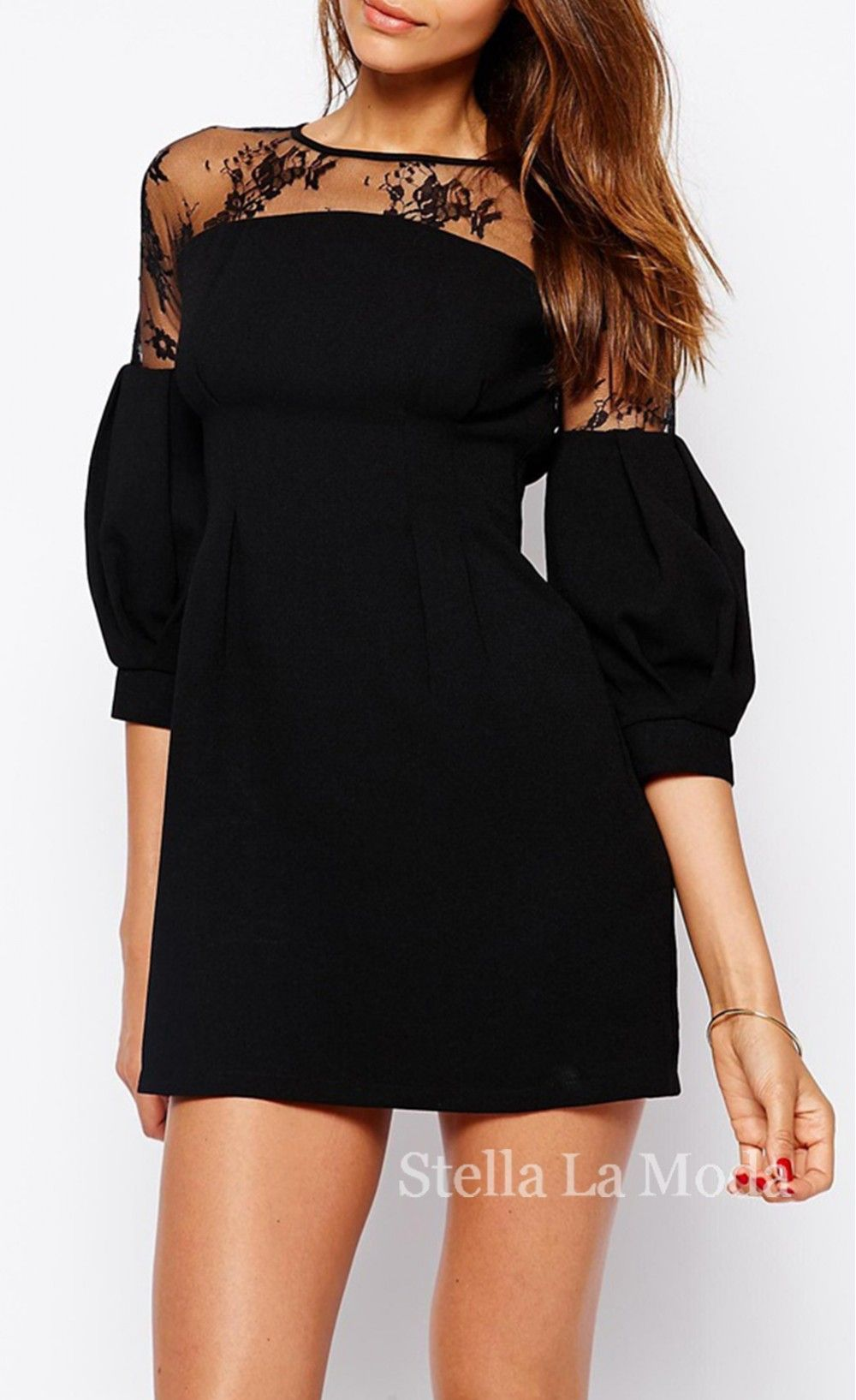 Puff sleeves lace panel detailed mini dress our honeymoon in