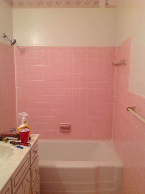 How Do I Remove The Adhesive From 1950 S Pink Wall Tiles Bathroom Wall Tile Wall Tiles Vintage Bathroom Tile