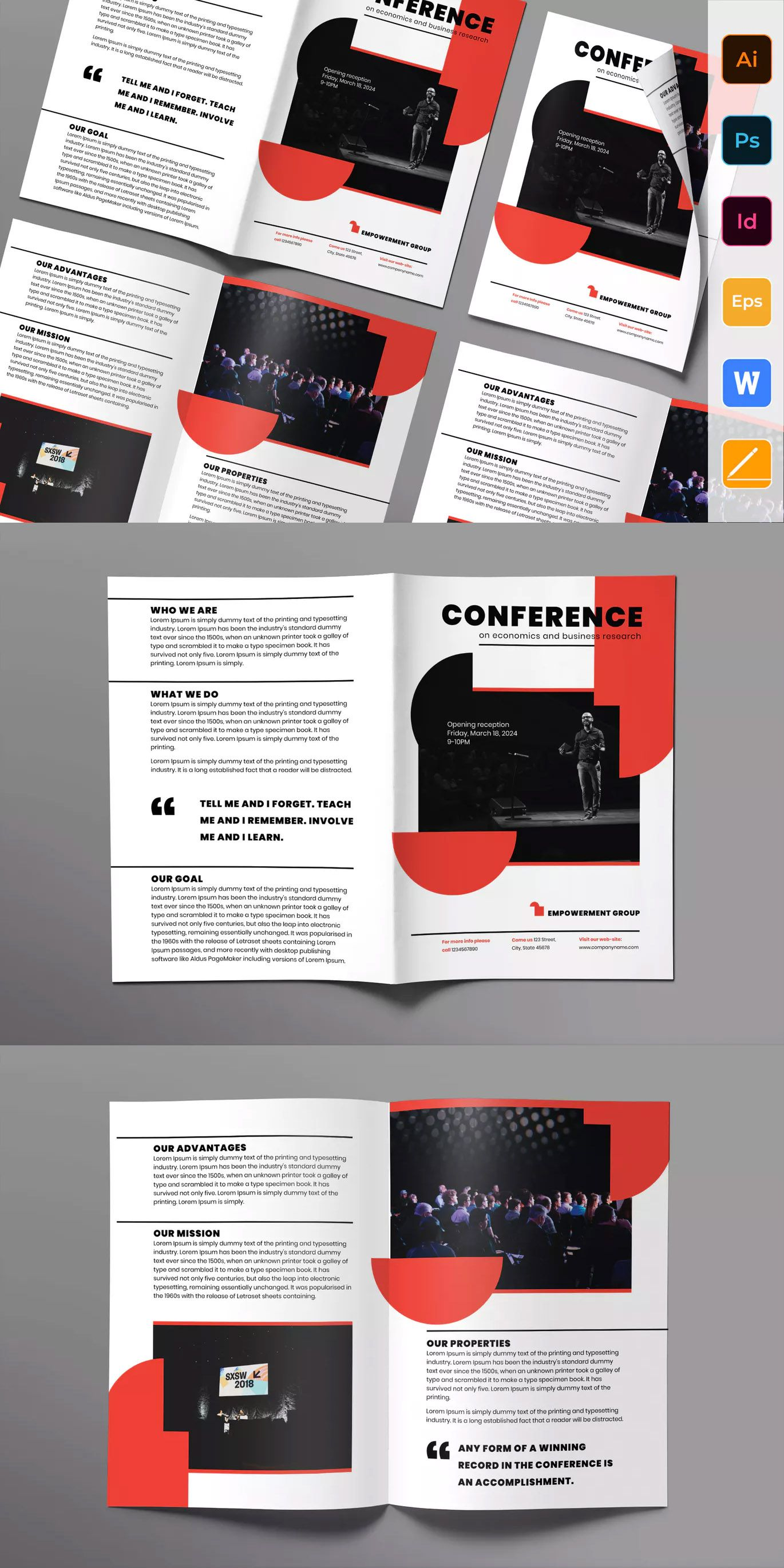 Conference Brochure Bifold Template Ai Eps Indd Psd Booklet Layout Brochure Design Template Booklet Design