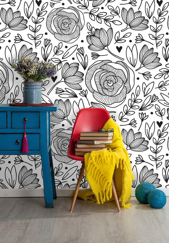 Removable Wallpaper Peony Peel And Stick Floral Pattern Etsy In 2021 Removable Wallpaper Wall Murals Mural