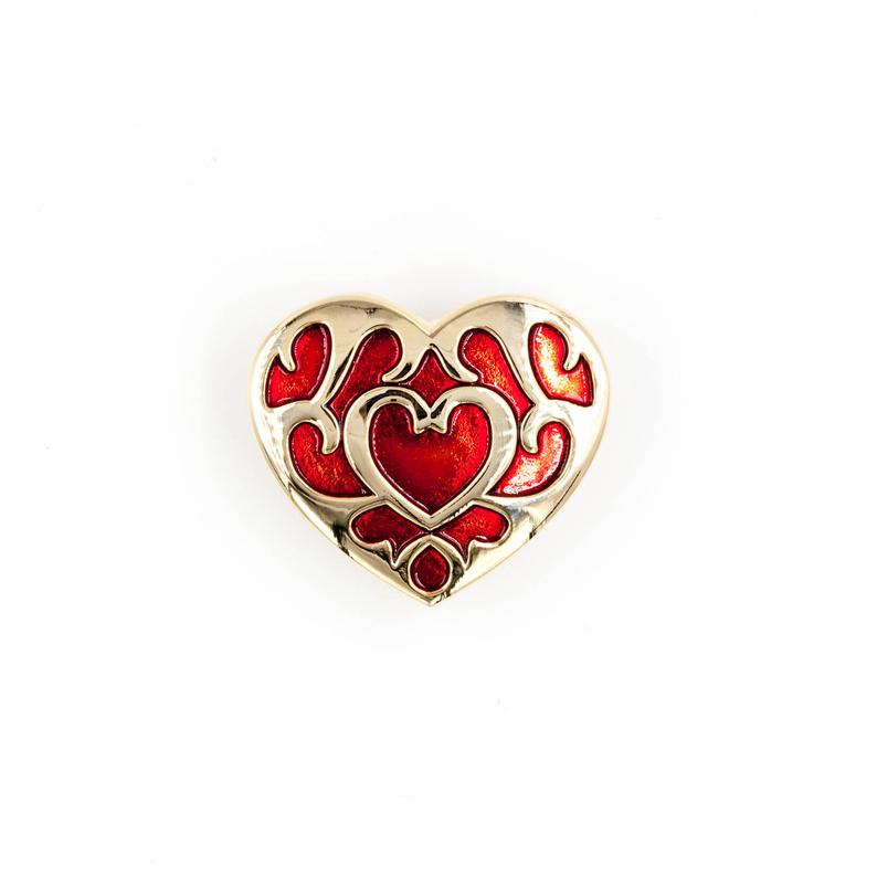 Heart Container Pin Valentine S Day Celebration Pin Elaborate Gold And Red Statement Piece Zelda Tattoo Legend Of Zelda Tattoos Legend Of Zelda
