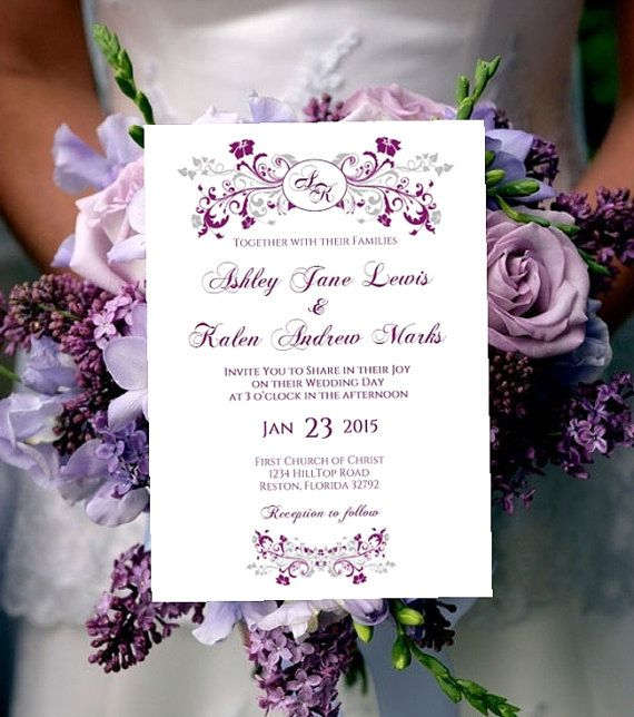 printable wedding invitation template monogram purple plum silver