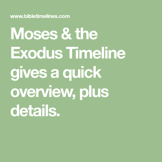Moses & the Exodus Timeline gives a quick overview, plus ...