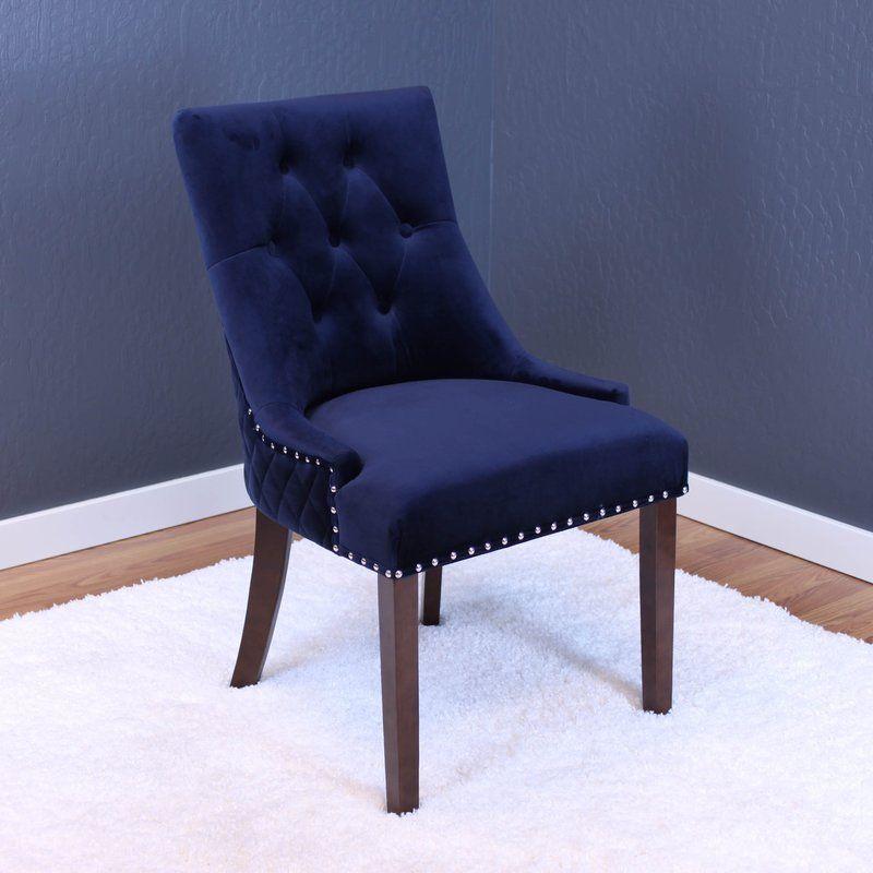 Best Bernyce Velvet Upholstered Dining Chair Tufted Dining 640 x 480