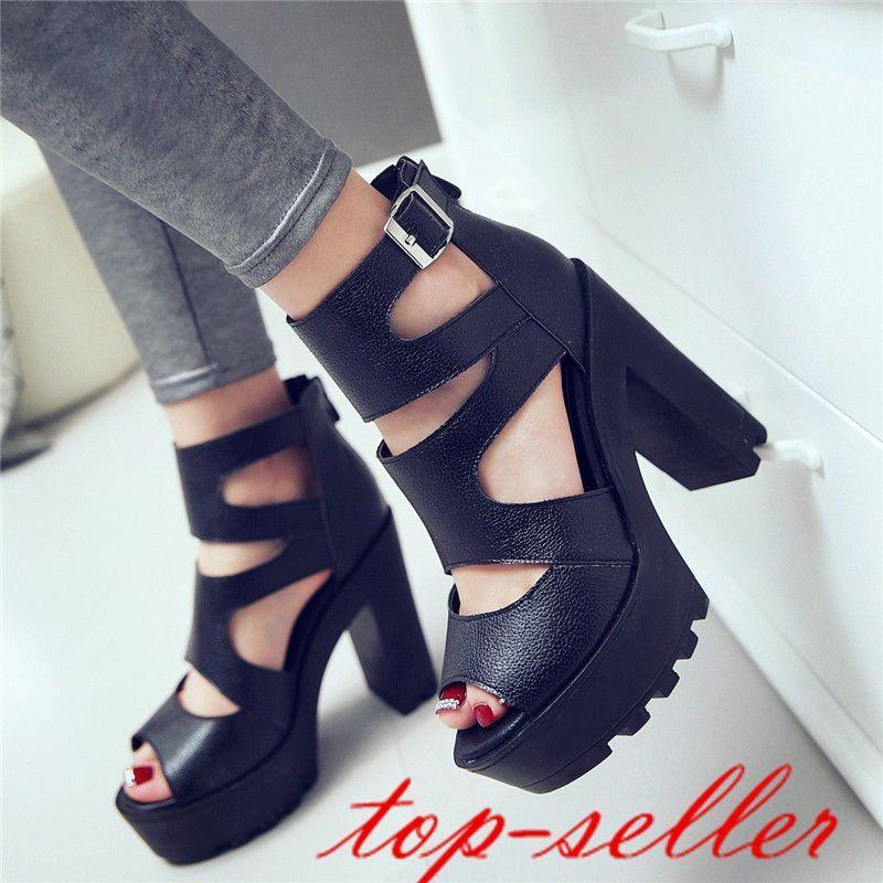 High Block Heel Women Open Toe Roman Sandals Ankle Buckle Peep Toe Shoes Size 39