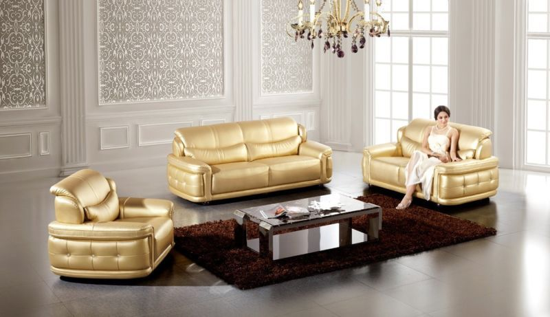 3 PC Modern Contemporary Gold Leather Sofa Loveseat Chair ...