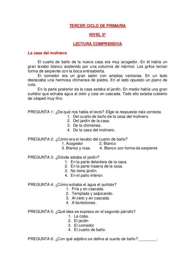 TERCER CICLO DE PRIMARIA NIVEL 5º LECTURA COMPRENSIVA La casa del ...