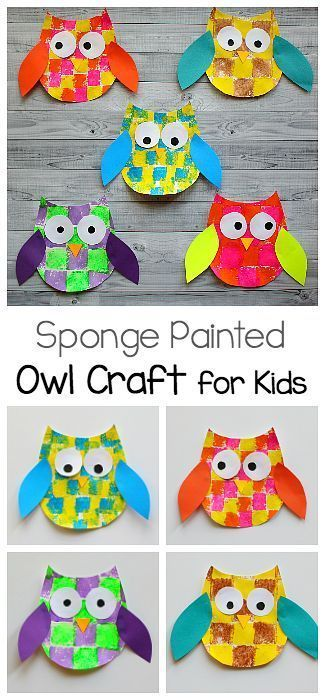 Sponge Painted Owl Craft For Kids With Owl Template  Math