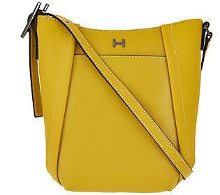 H by Halston Smooth  amp  Pebble Leather Crossbody Bag Happy Colors 612fcd948c18c