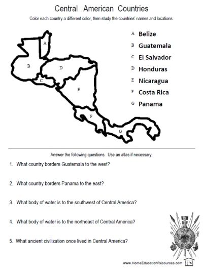 FREE printable worksheets on Central America from FransFreebies.com ...