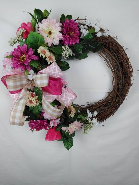 Photo of Spring grapevine wreath for front door, pink floral wreath, housewarming gift, Mother's Day gift, gift for her, spring floral wreath, Easter