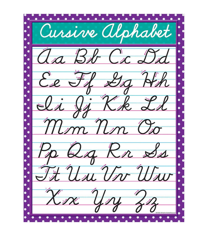 Teacher Created Resources Cursive Chart 6pk
