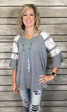 Lacey Top- Heather Grey