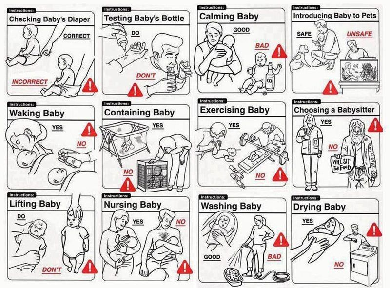 Health and safety graphics for new parents Funny babies