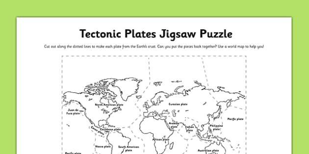 Tectonic Plates Jigsaw Puzzle Activity Tectonic Plates Jigsaw