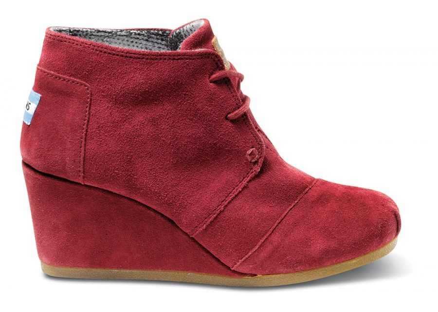0fb256f99c4 TOMS Burgundy Suede Women s Desert Wedges