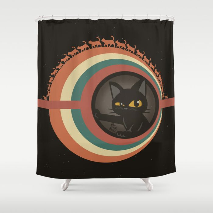 Cats Planet Shower Curtain By Batkei