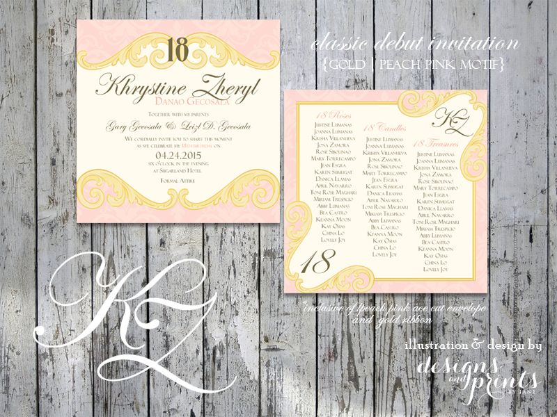 gold peach pink motif Debut Invitations Pinterest Debut - best of invitation letter sample for debut
