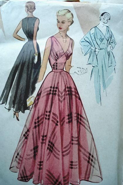 1950s BEAUTIFUL EVENING GOWN DRESS PATTERN LOW V NECKLINE McCALL ...