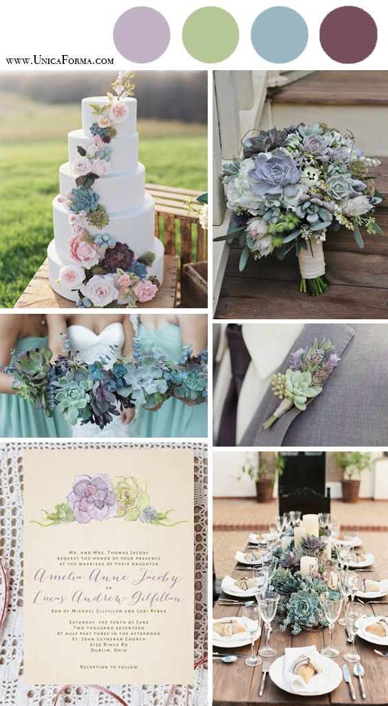 Succulent wedding invitations Succulent wedding table setting