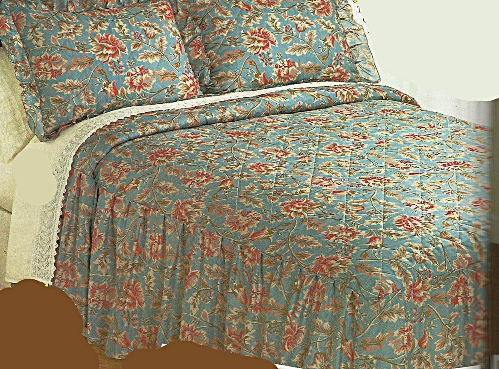Details About Quilted Bedspread With Attached Bed Skirt Full