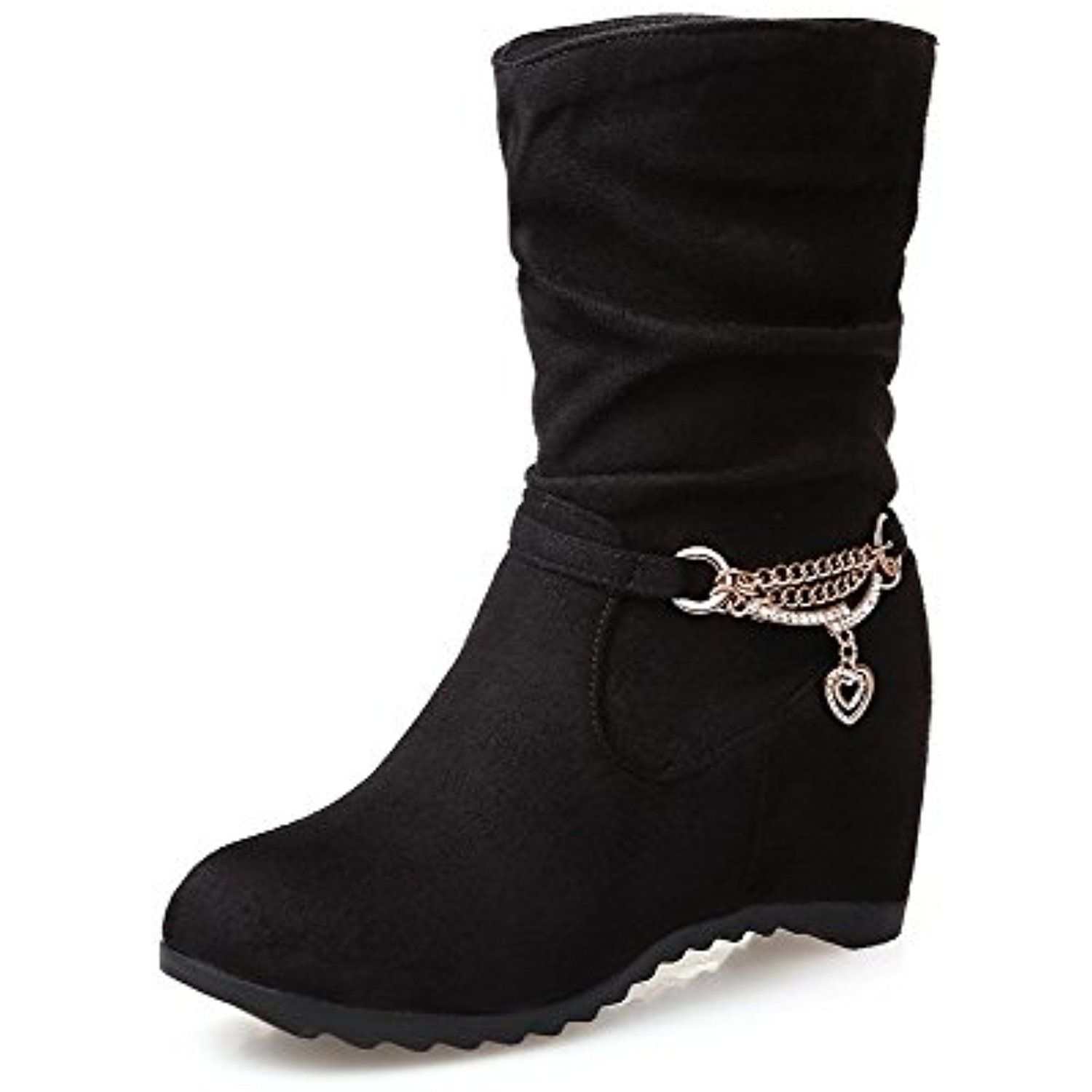 Women's Imitated Suede Low-top Solid Pull-on High Heels Boots