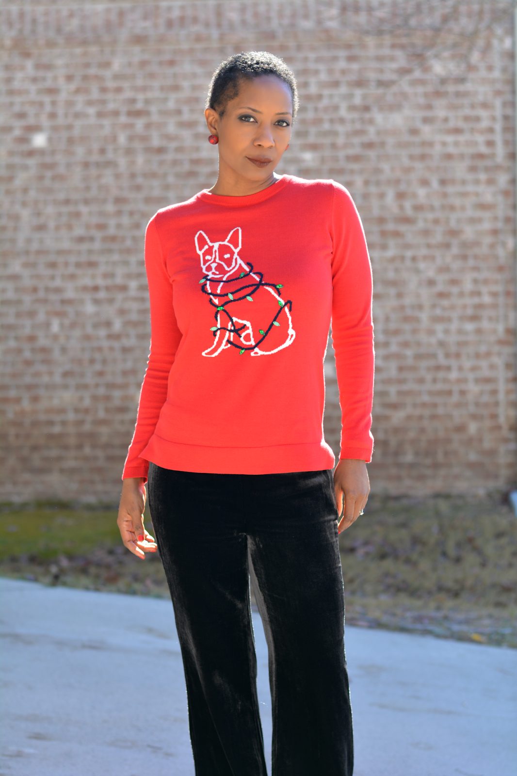 0fe59997d6878 ... #crownandivy ad, velvet pants, ugly christmas sweater, cute christmas  sweater, terrier dog christmas sweater, velvet flare pants, holiday outfit,  ...