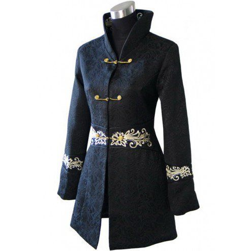 Periwing V Collar Long Sleeves Embroidery Extended Chinese Jacket