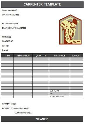 CARPENTER INVOICE TEMPLATE-18 joae Pinterest Carpenter