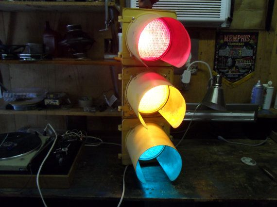 Vintage 3 Color Traffic Signal Red Yellow Green Stop Light Industrial Lighting On Etsy 535 00 Traffic Signal Stop Light Traffic Light