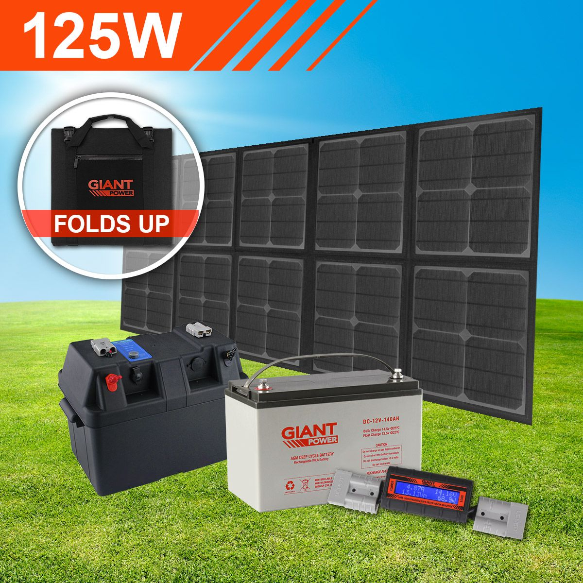 Complete 12v Portable Folding Solar Panel Kit For Camping 125w Folding Solar Panel Kit With Battery In 2020 Solar Panel Kits Solar Kit Solar Panels