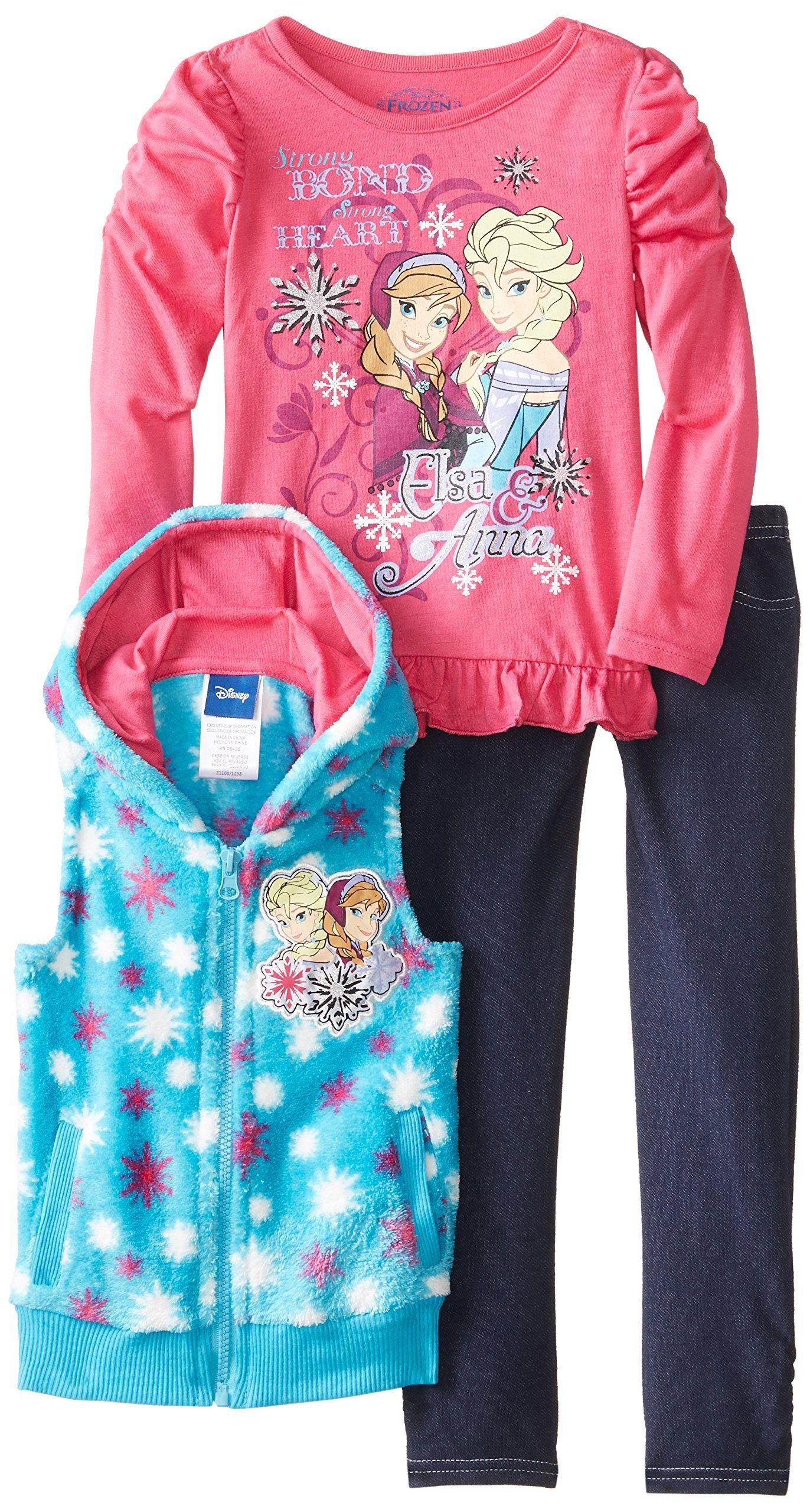 d8493e84d33c3 Disney Little Girls' Anna and Elsa Vest Set, Pink, 2T | Baby and ...