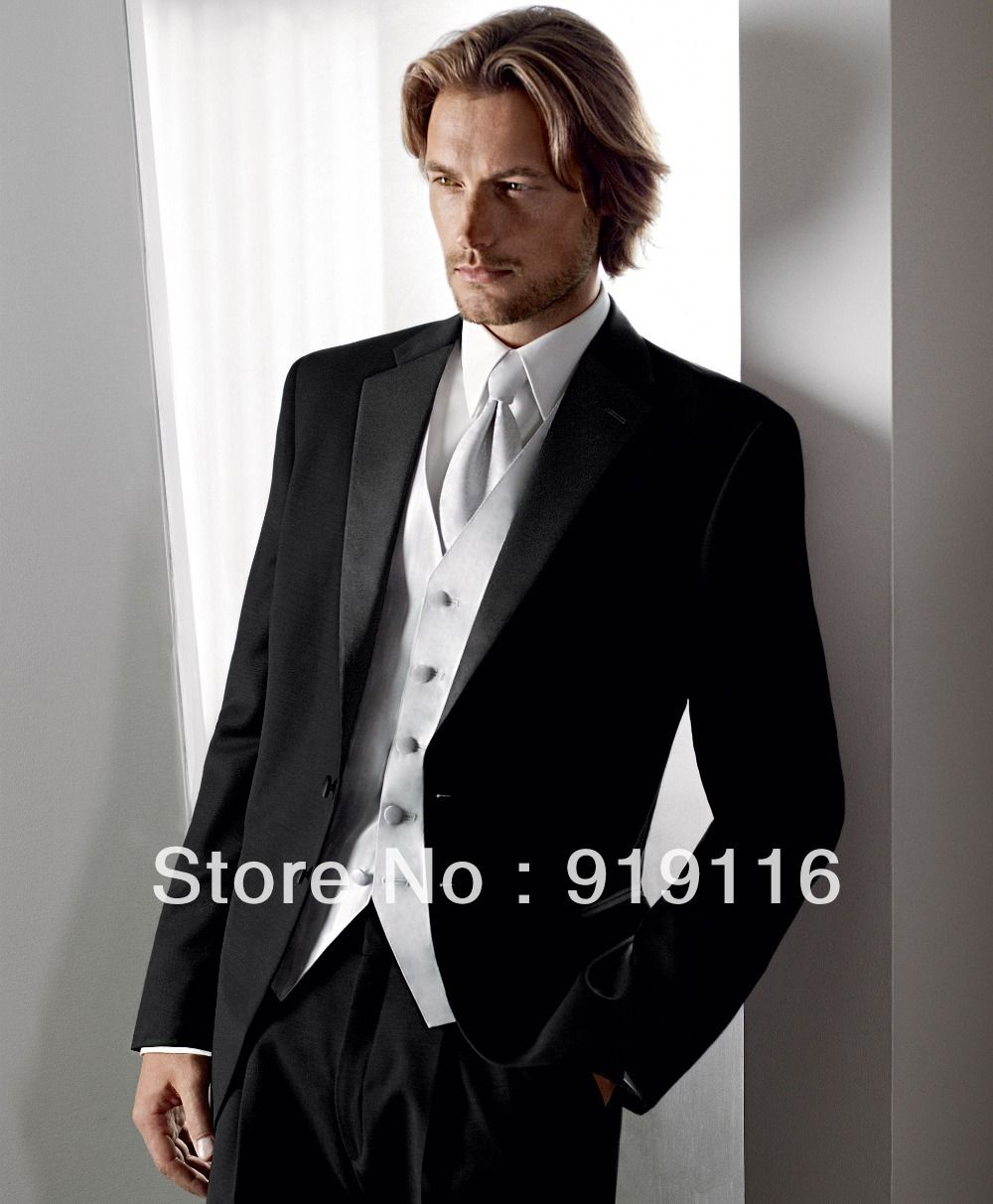 2014 Custom made Black Groom suit /Wedding suit for men /Prom Suit ...