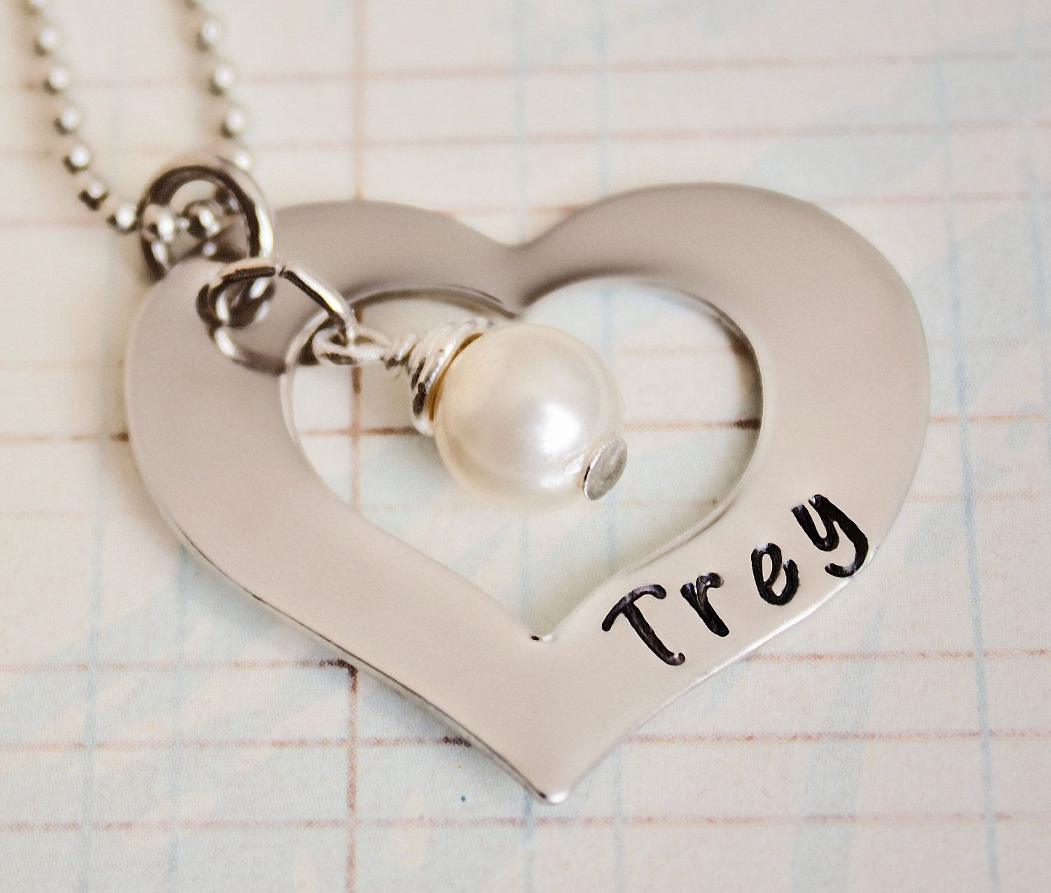 Hand stamped mommy necklace pearl custom by StampedMemoriesbyMel. $21.00, via Etsy.