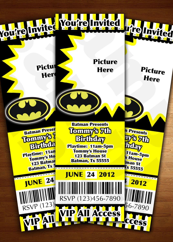 Batman Ticket Invitation Birthday Party Personalized Digital File U Print Yellow And Black Superhero Invitations Modern 1299 Via Etsy