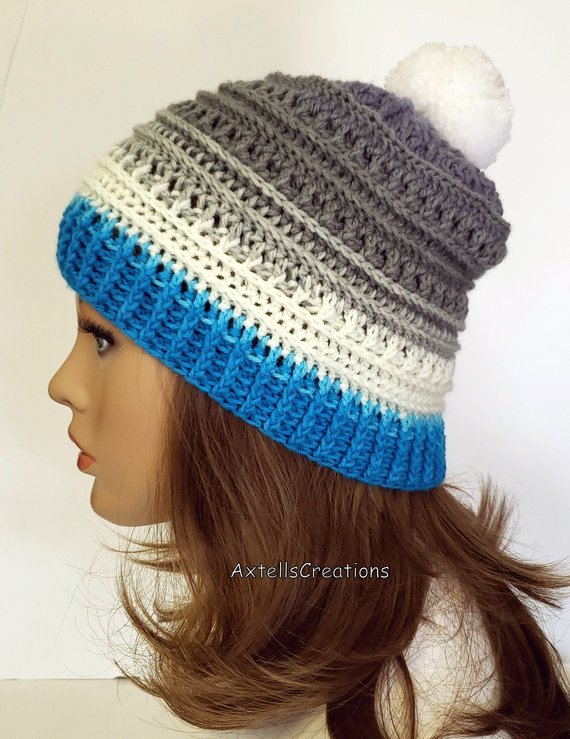 Blue Striped Adult Hat with Pom Pom bb374cb7404